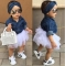 0-5T Babies Girl Summer Clothing Set Baby Girls Denim Shirt Top +Tutu Skirts+Headband 3pcs Outfits one color 12M