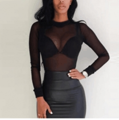 2017 Sexy Women Blouses See Transparent Mesh Stand Neck Long Sleeve Sheer  Ladies Tops Tee black s