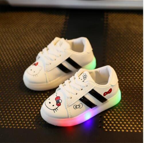 1b08b39169 Children Light Shoes Girls Illuminated Chaussure Enfant Toddler Cartoon  Kitty LED Shoes white 6.5