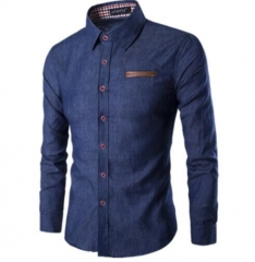 2018 New Fashion Brand Men Shirt Pocket Fight Leather Dress Shirt Long Sleeve Dark Blue xl