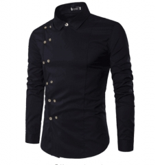 Spring Shirts Men Personality Oblique Button Irregular Double Breasted Men Long Sleeve black m