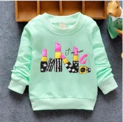 2018 New Arrival Baby Girls Sweatshirts Winter Spring Autumn Child hoodies 6 Cats green  lipstick 3t
