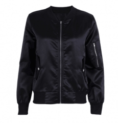 Women Ladies Classic Casual Bomber Jacket Vintage Zip Up Biker Outwear black s