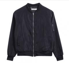 Lady Casual Classic Padded Bomber Jacket Womens Retro Vintage Zip Up Biker Coat black s