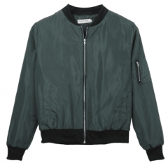 Lady Casual Classic Padded Bomber Jacket Womens Retro Vintage Zip Up Biker Coat army  green xl