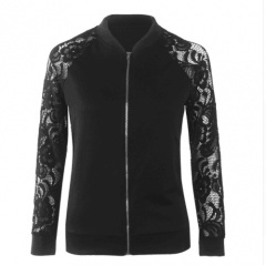 Lace Sleeve Women Basic Coats Long Sleeve Lace Patchwork Transparent Zipper Casual black s
