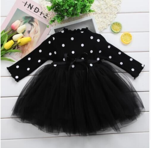 0-4T Kid Girls Princess Baby Dress Newborn Infant Baby Girl Clothes Bow Dot black newborn
