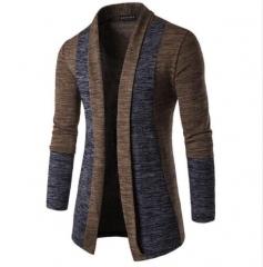 2018 New Men's Fashion Cardigan Casual Cotton Stitching Sweatshirts coffee m
