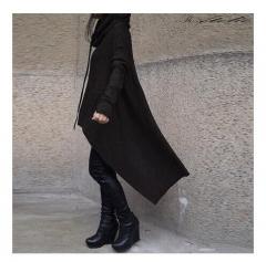Hoodies Sweatshirt Women Casual Outwear Hoody Loose Long Sleeve Mantle Hooded Cover black s