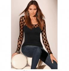 New Fashion Womens Ladies Long Sleeve Polka Dots Mesh Shirt Summer Casual Slim Blouse Tops black s