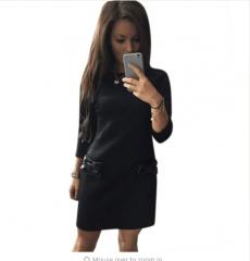 Women Bow Mini Dresses 2018 New Arrival Winter Spring Straight Casual Dress s black
