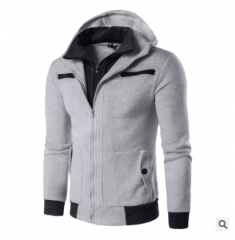 New Men's Fashion Casual Long Sleeved Sweater Sweater Male Personality light grey size l 58 to 65 kg light  gray m