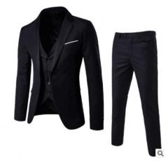 High Quality Men Suit Three Piece Blazer&Vest&Pants Bridegroom Groomsman Business black s