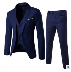 High Quality Men Suit Three Piece Blazer&Vest&Pants Bridegroom Groomsman Business navy 5xl