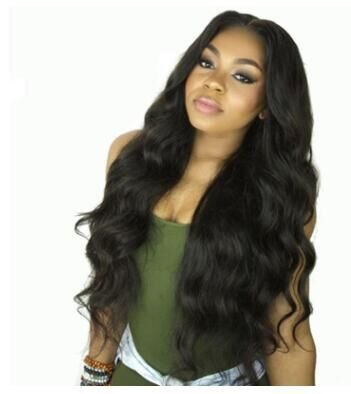 Fashion female long curly hair black fake delivery fiber high temperature wire Africa black pictured