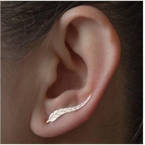 2018 Vintage Jewelry Exquisite Gold Leaf Earrings Modern Beautiful Feather Earrings Gold one size