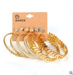 6 Pair/lot Fashion Silver Gold Color Big Circle & Stud Earrings Set for Women gold one size