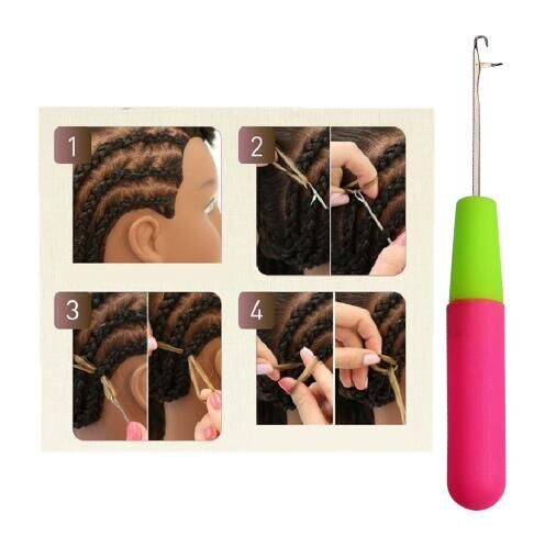 Plastic Handle Latch Crochet Hook Hair Weave Needle wigs Knitting Extensions styling tools one size pink one size