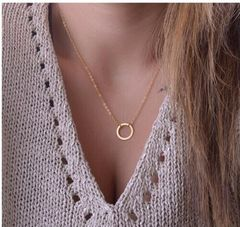 Hottest Fashion Casual Personality Circle Pendant Gold Color Necklace High Quality Necklaces gold one size