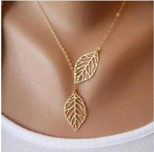Hot Fashion Gold Silver Plated Chain Necklace Leaf Casual Beads Long Strip Pendants Gifts gold one size