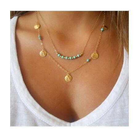 Hot Fashion Gold Color Multilayer Coin Tassels Lariat Bar Necklaces Beads  For Women gold one size
