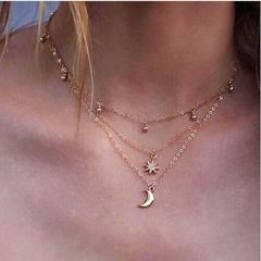 Jewelry Multi Layer Beads Choker Necklaces for Women Sexy Moon Fashion Pendant Necklace gold gold one size
