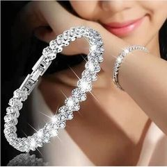 Bracelet Crystal Bracelets For Women Charm Silver  Bridal Wedding Fine Jewelry Gift silver one size