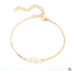 Wedding Explosion Jewelry Sweet Pearl Beaded Bracelet Jewelry Ms. gold one size