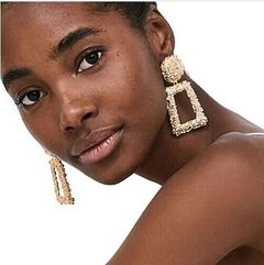 New Punk Heavy Metal Dangle Gold Drop Earring   For Women African gold one size