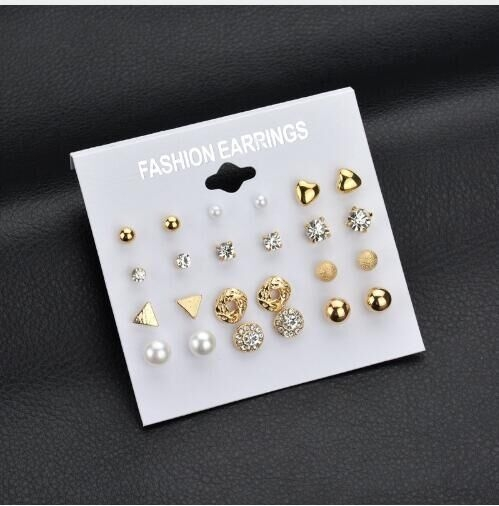 12 pair/set Women Square Crystal Heart Stud Earrings Piercing Simulated Pearl Flower Earrings gold and white one size