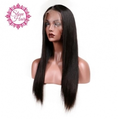 Lace Front Human Hair Wigs For Women Remy Hair Straight Wig With Baby Hair Natural Hairline Full End photo color 8 inch