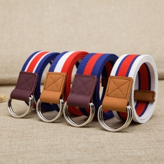 Men 's belt Teenager student woven belt weaving elastic buckle belt Automatic Buckle Strap red/blue/white 115cm