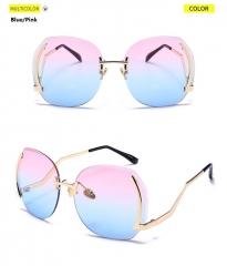 2018 Fashion Women Luxury Goggle Vintage Polarized Sunglasses Colorful Frame Ladies Elegant Eyewear blue/pink one size