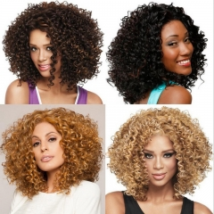 Synthetic Wigs Hair in 4 colors Women's Wigs Hair Curly High Temperature Fiber Gold one size