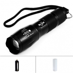 Portable LED Flashlight LED Torch Zoomable Flashlight 8000LM  Light For 18650 or 3xAAA Battery Black One size