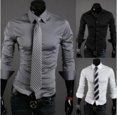 Men Shirt 10 colors Solid Black Dress Shirt Long Sleeve Slim Fit Camisa Masculina Casual Male Shirts white M