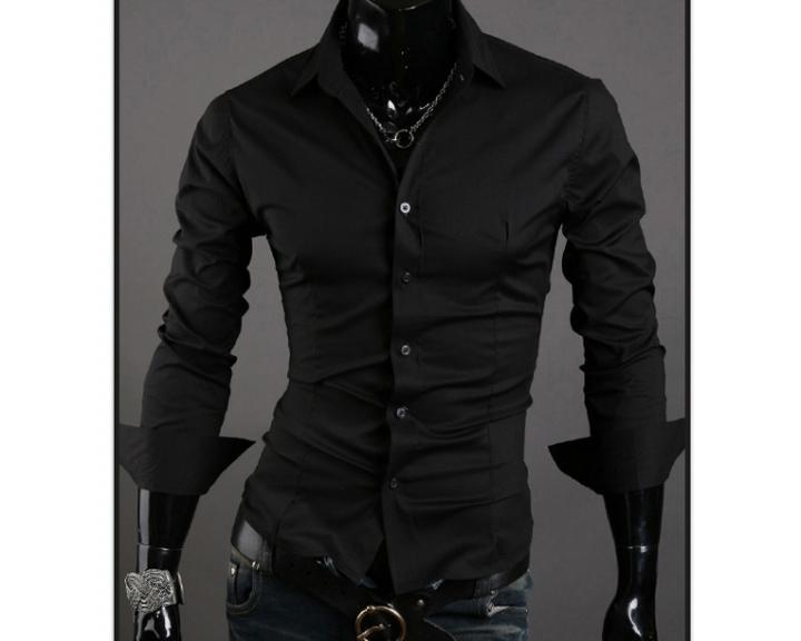 Men Shirt 10 colors Solid Black Dress Shirt Long Sleeve Slim Fit Camisa Masculina Casual Male Shirts black XXXL