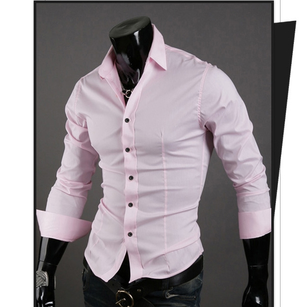 Men Shirt 10 colors Solid Black Dress Shirt Long Sleeve Slim Fit Camisa Masculina Casual Male Shirts pink XXXL