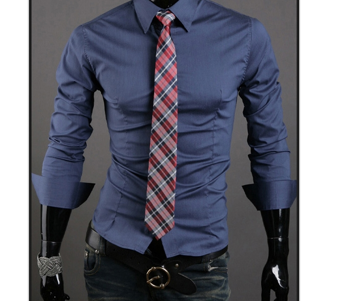 Men Shirt 10 colors Solid Black Dress Shirt Long Sleeve Slim Fit Camisa Masculina Casual Male Shirts dark blue XL