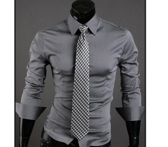 Men Shirt 10 colors Solid Black Dress Shirt Long Sleeve Slim Fit Camisa Masculina Casual Male Shirts gray L