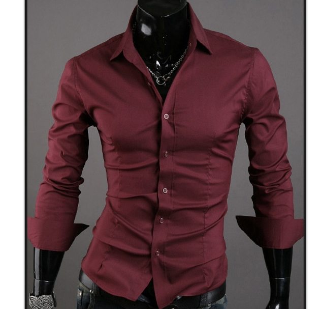 Men Shirt 10 colors Solid Black Dress Shirt Long Sleeve Slim Fit Camisa Masculina Casual Male Shirts wine red XL