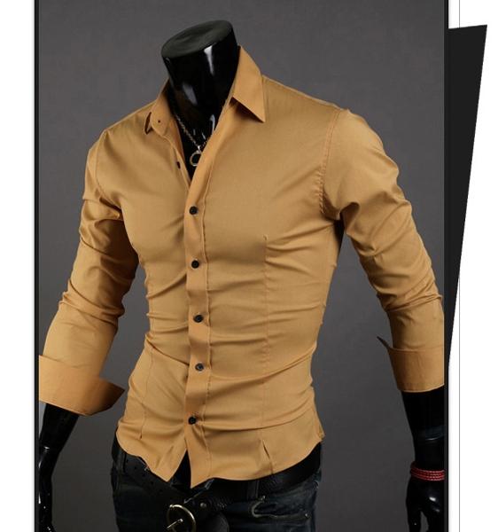 Men Shirt 10 colors Solid Black Dress Shirt Long Sleeve Slim Fit Camisa Masculina Casual Male Shirts Khaki XXXL