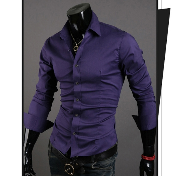 Men Shirt 10 colors Solid Black Dress Shirt Long Sleeve Slim Fit Camisa Masculina Casual Male Shirts Purple XL