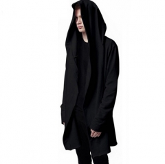 Men Hooded Sweatshirts Hip Hop Mantle Hoodies Fashion Jacket long Sleeves Cloak Man's Coats Outwear black M