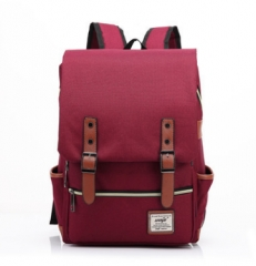 2019  Men Women Canvas Backpacks School Bags Large Capacity  Backpack Fashion Men Backpack wine red one size