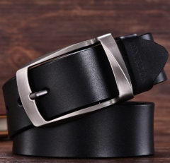 High quality men's genuine leather belt belts men luxury strap male belts for men fashion pin buckle Black one size
