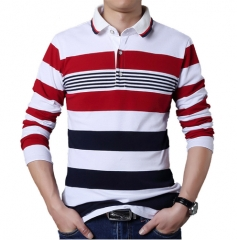 Casual Men T-shirt White and Red Stripe Pattern Fitness Long Sleeve Collar Tops Stripe Clothes white XL