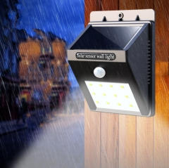 Waterproof LED Solar Lamp Human Body Induction Solar Light 20LEDs Powerful Solar Garden Lights black one size
