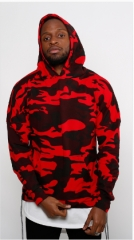 HOT 2018 red camouflage hoodie men fashion sweatshirts brand orignal design casual pullover Red M
