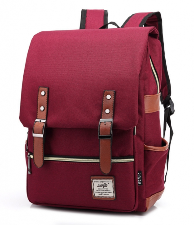 Men Women Canvas Backpacks School Bags Large Capacity Backpack Fashion Men Backpack Wine red 16 inch